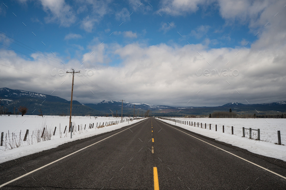 Dry Road Winter Season Rural Farm Land United States - Stock Photo - Images