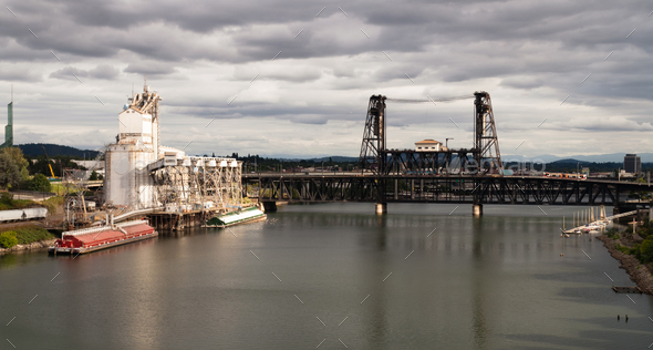 Grain Elevator Barge Loading Willamette River Steel Bridge Portland - Stock Photo - Images