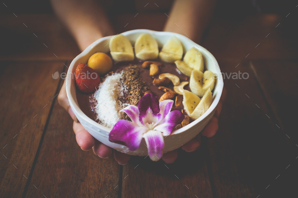 Vegan acai bowl breakfast closeup. - Stock Photo - Images