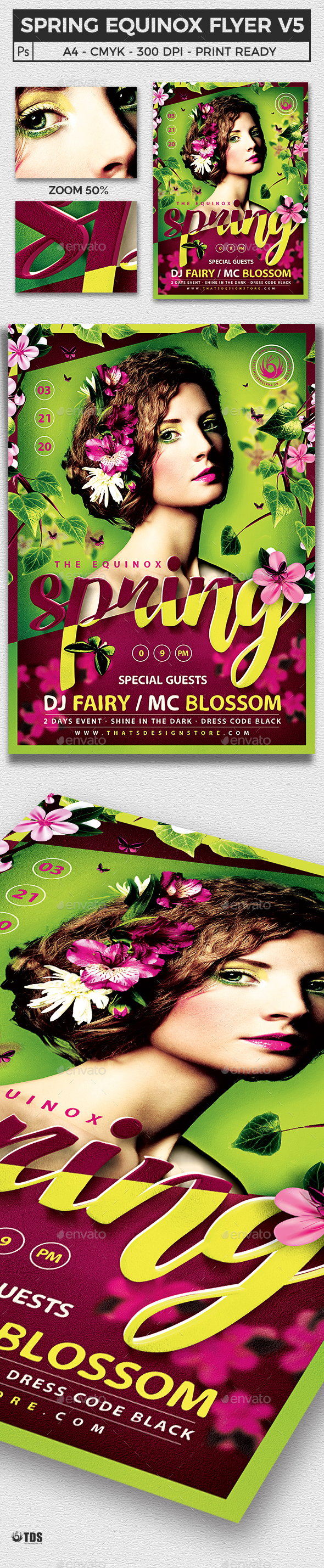 Spring Equinox Flyer Template V5 - Clubs & Parties Events