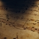 Atmospheric Music Background with Notes on Old Brown Paper - VideoHive Item for Sale