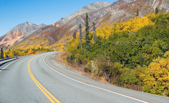 Roadside Sign Marker Indicates Photo Pull Out Ahead Alaska - Stock Photo - Images