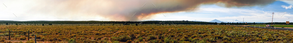 Long Panoramic Cascade Mountain Range Forest Wildfire - Stock Photo - Images