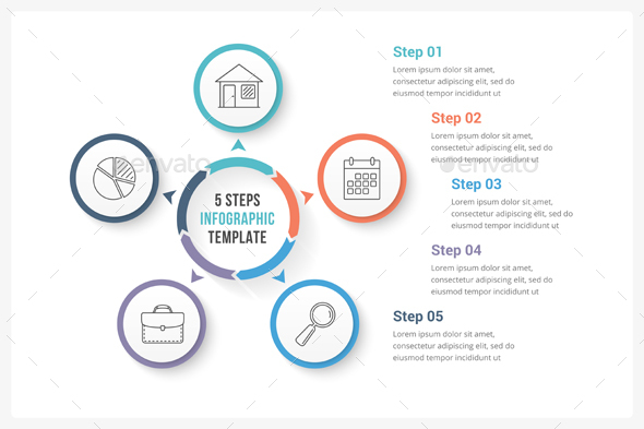 Circle Infographics with Five Steps - Infographics