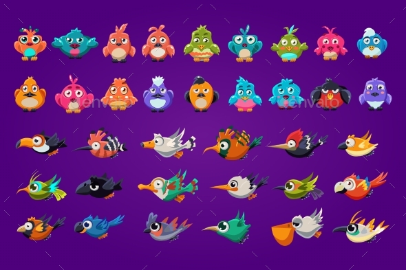 Set of Cartoon Birds. - Animals Characters