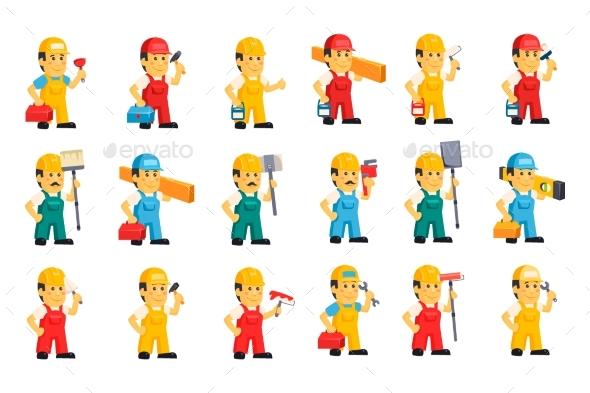 Flat Vector Set of Men in Working - Industries Business