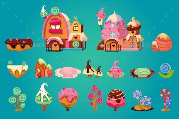 Vector Set of Sweet Landscape Elements for Fantasy - Objects Vectors