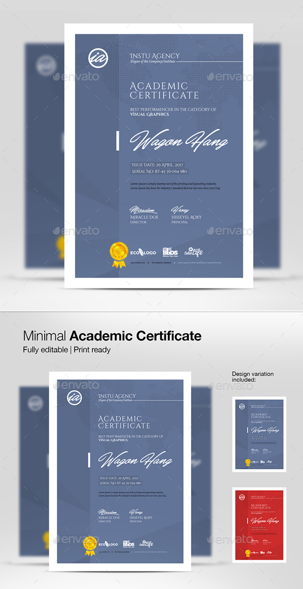 Minimal Academic Certificate - Certificates Stationery
