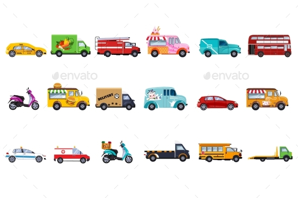 Flat Vector Set of Service Vehicles. Police Car - Man-made Objects Objects