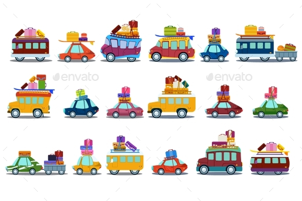 Flat Vector Set of Colorful Cars, Buses and Vans - Man-made Objects Objects