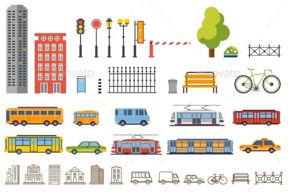 Vector City Constructor Design: Buildings, Road - Miscellaneous Vectors