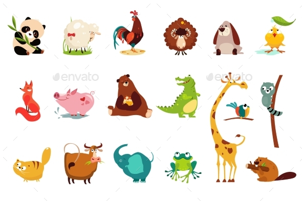 Colorful Flat Vector Set of Funny of Various - Animals Characters