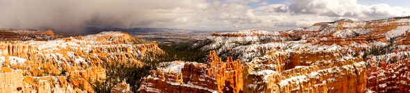 Fresh Snow Blankets Bryce Canyon Rock Formations Utah USA Storm - Stock Photo - Images