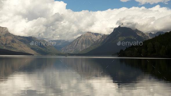Canoe Rowboat Lake McDonald Glacier National Park Montana - Stock Photo - Images