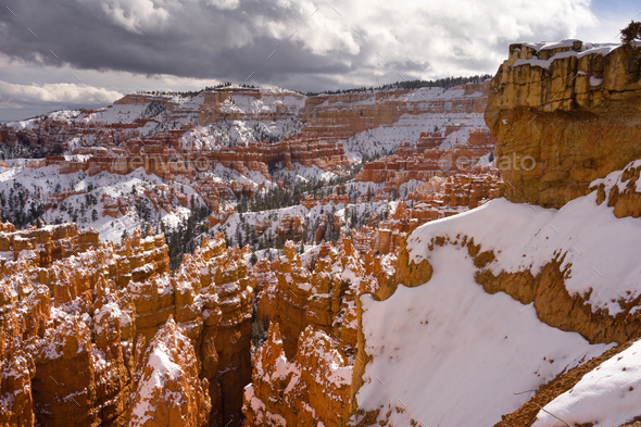 Fresh Snow Blankets Bryce Canyon Rock Formations Utah USA - Stock Photo - Images