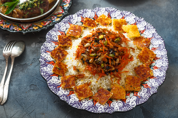 Jeweled rice or shirin polo in traditional plate - Stock Photo - Images