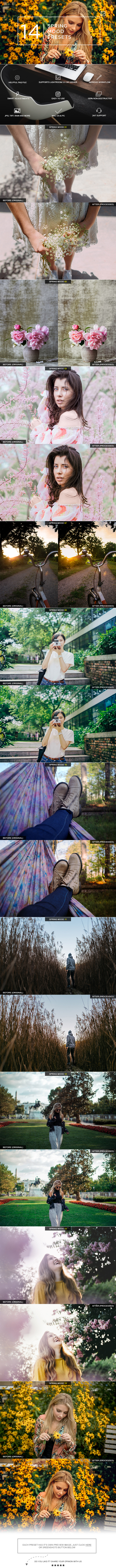 14 Spring Mood Presets - Portrait Lightroom Presets