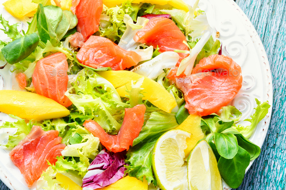Fish salad with salmon and vegetables - Stock Photo - Images