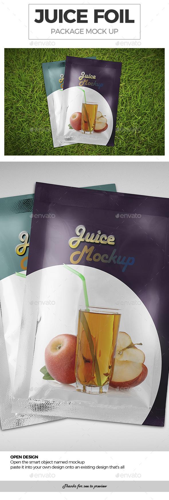 Juice Foil Package Mockup - Food and Drink Packaging