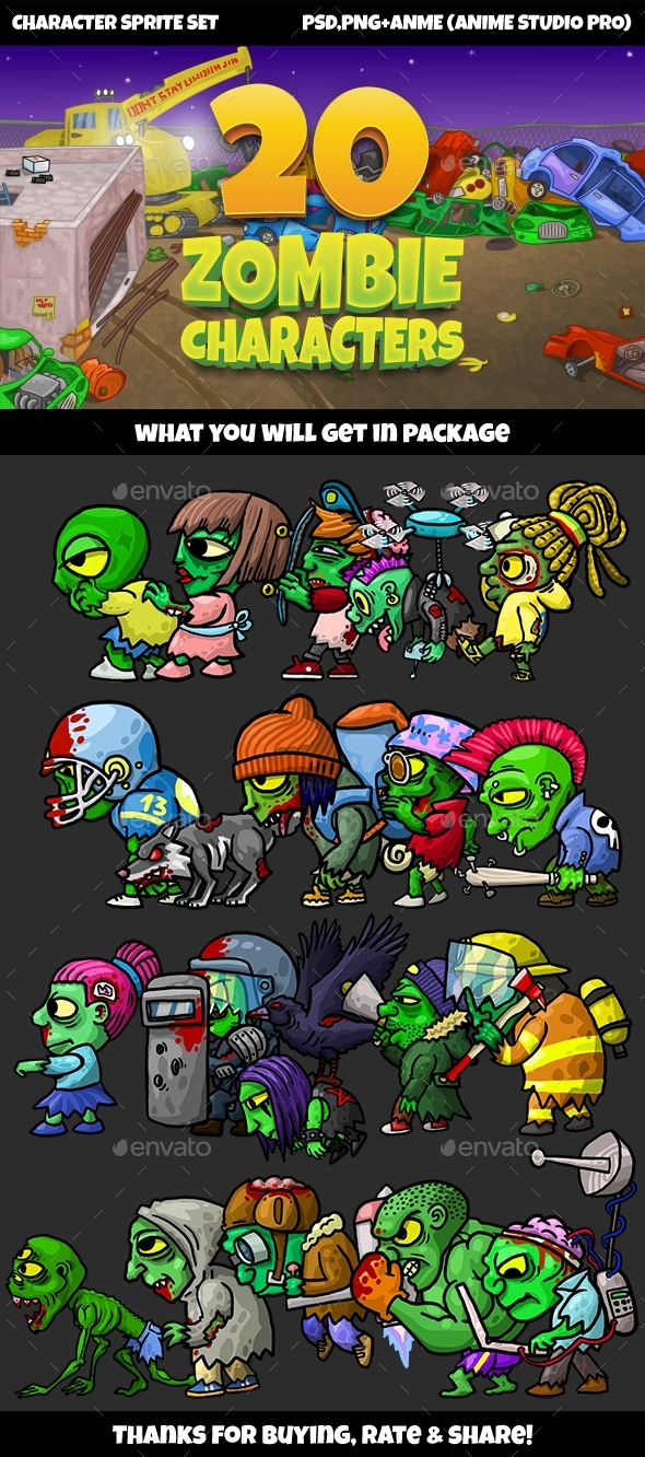 20 Zombies Pack №1 - Sprites Game Assets