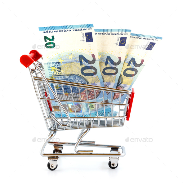 Market cart with money - Stock Photo - Images