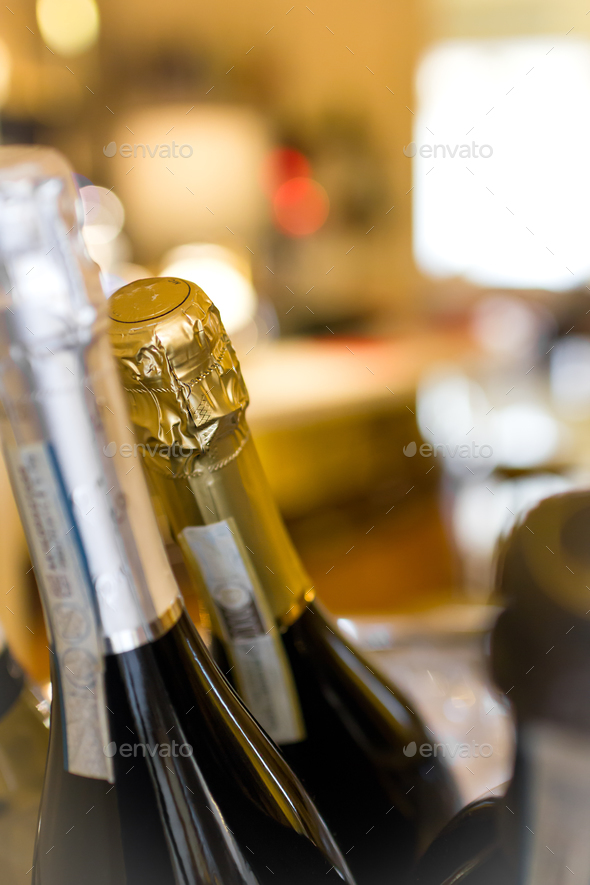 Champagne bottle and wine in cooler - Stock Photo - Images