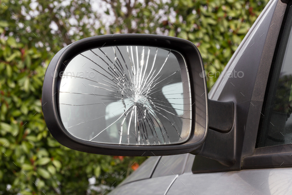 Damaged rearview mirror - Stock Photo - Images