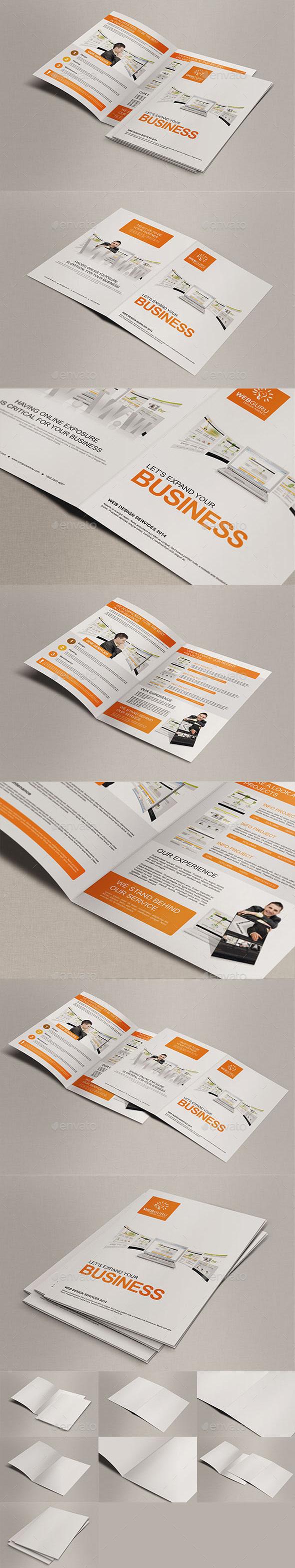 Realistic A4 Bi Fold Brochure Mock Ups - Brochures Print