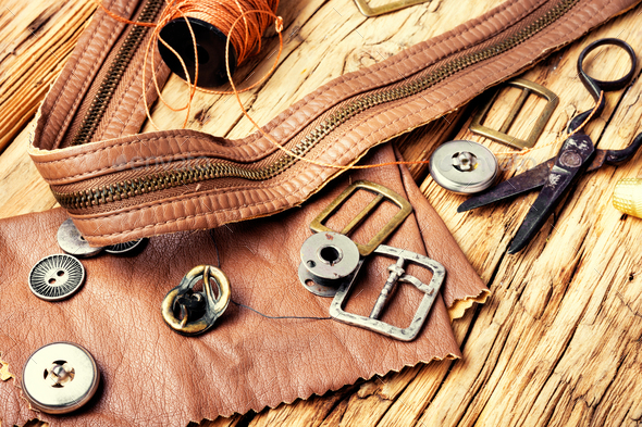 Tools of a tanner for working with leather - Stock Photo - Images