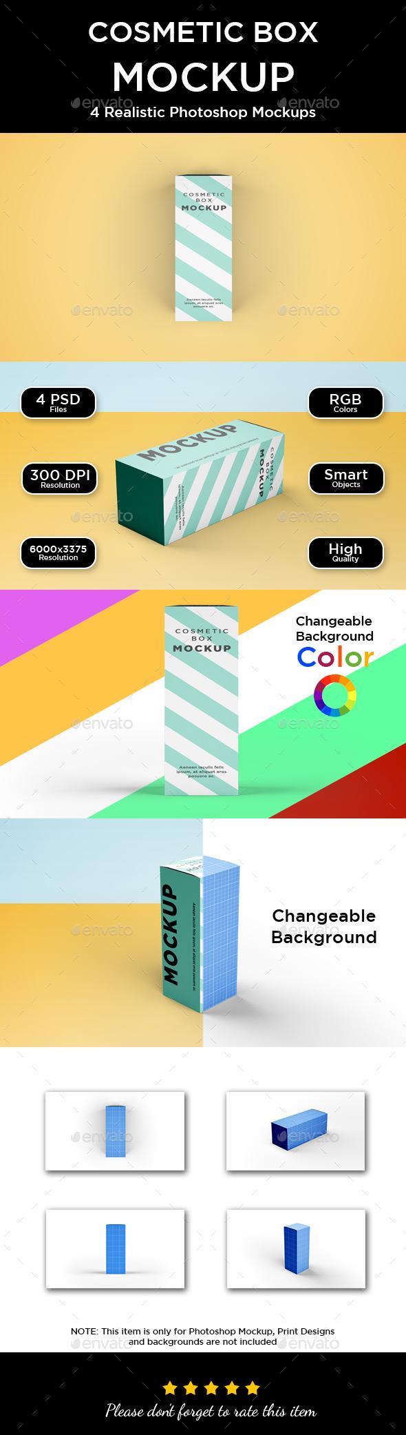 Box Mockup - Rectangle Long - Packaging Product Mock-Ups