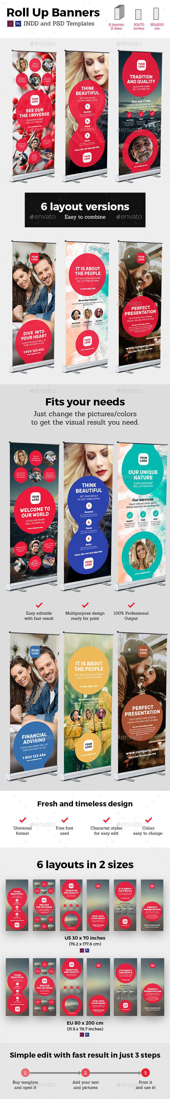 Circle Style Rollup Stand Banner Display 6x Indesign and Photoshop Template - Signage Print Templates