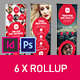 Circle Style Rollup Stand Banner Display 6x Indesign and Photoshop Template