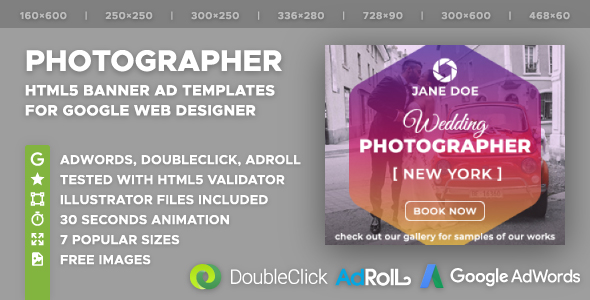 Wedding Photographer HTML5 Banner Ad Templates (GWD) - CodeCanyon Item for Sale