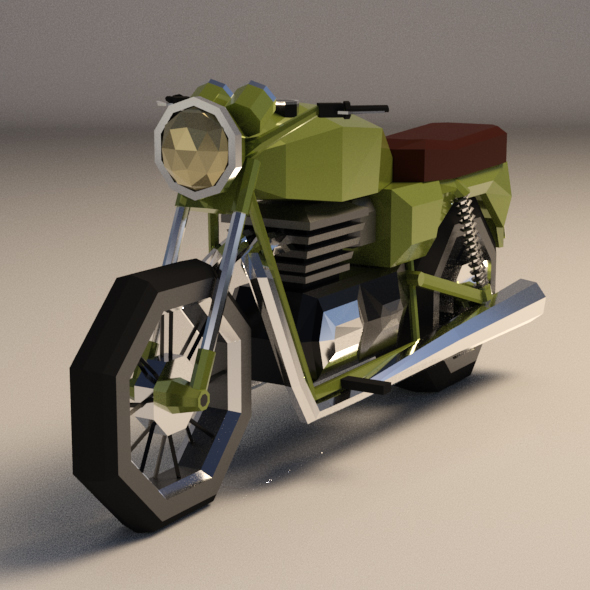 Low-Poly Cartoon Motorcycle - 3DOcean Item for Sale