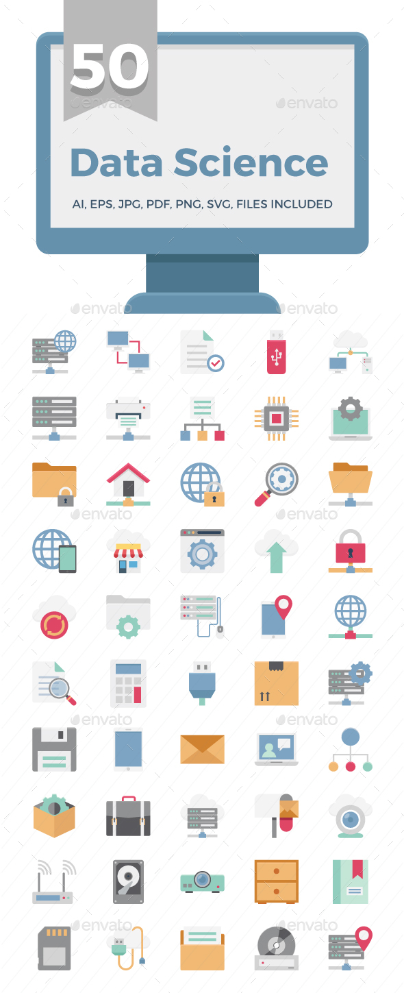 50 Data Science Color Vector Icons - Icons
