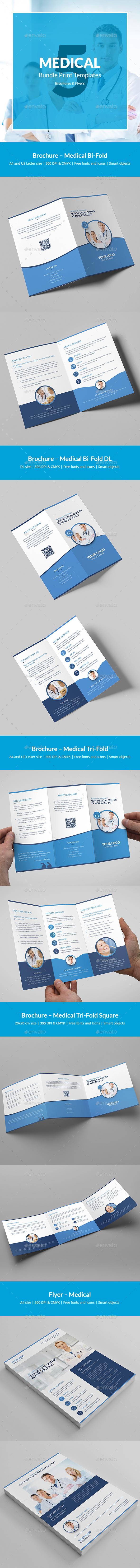 Medical – Brochures Bundle Print Templates 5 in 1 - Corporate Brochures