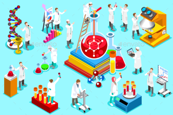 Laboratory Staff Isometric People Vector - Miscellaneous Conceptual
