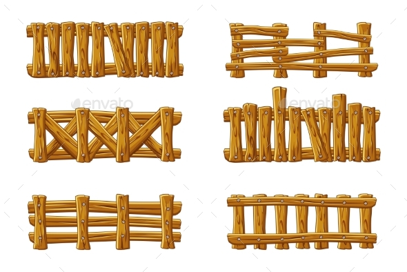 Different Types of Wooden Fences Cartoon Set - Man-made Objects Objects