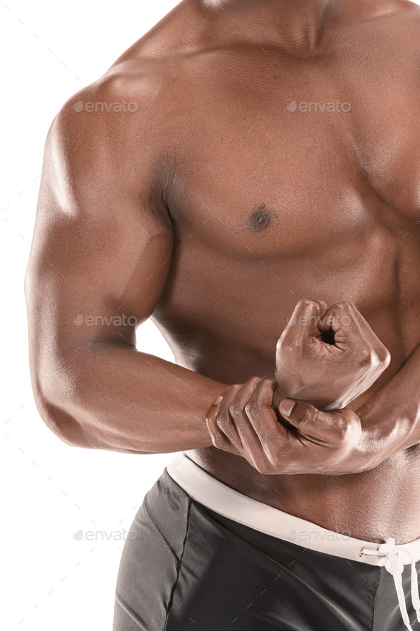 Fit young man with beautiful torso isolated on white background - Stock Photo - Images
