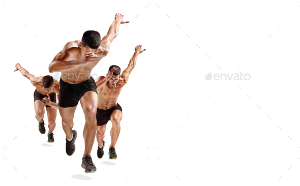 one caucasian man runner jogger running jogging isolated on white background with shadows - Stock Photo - Images