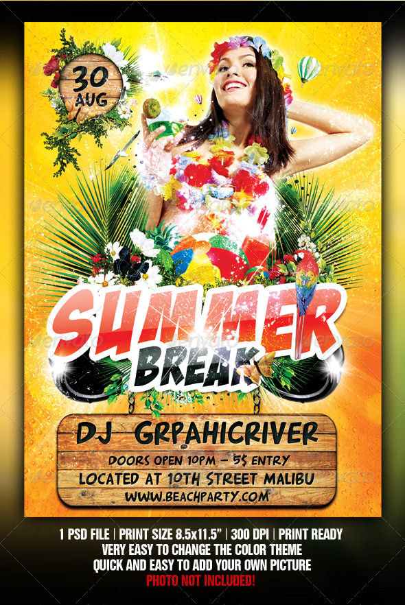 Summer Beach Party  - Flyers Print Templates