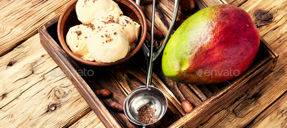 Ice cream with mango flavor - Stock Photo - Images