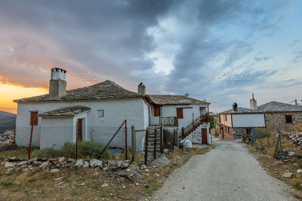 Traditional houses in Kastro village, Greece - Stock Photo - Images