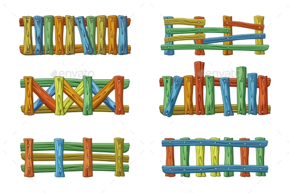 Different Types and Colors of Wooden Fence - Man-made Objects Objects