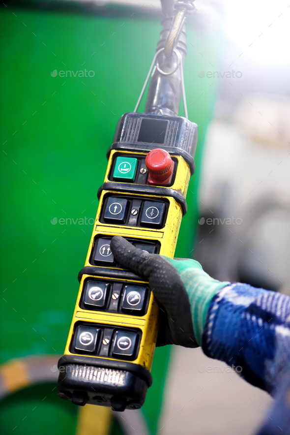 Close up view of freight elevator controller - Stock Photo - Images