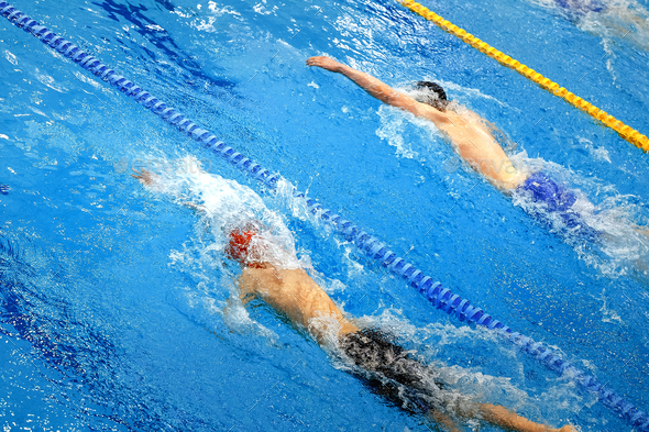 two athletes swimmers - Stock Photo - Images