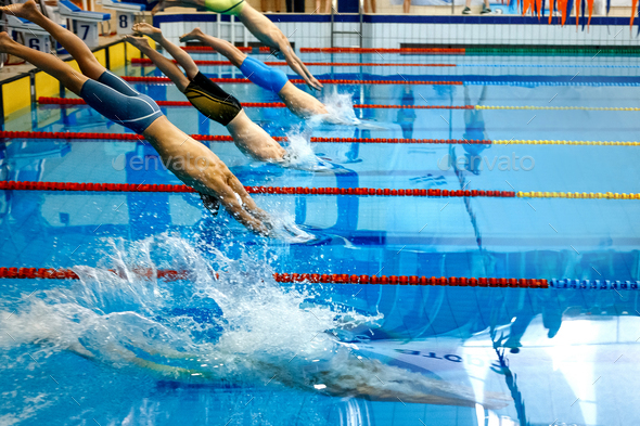 start group men athletes swimmers - Stock Photo - Images