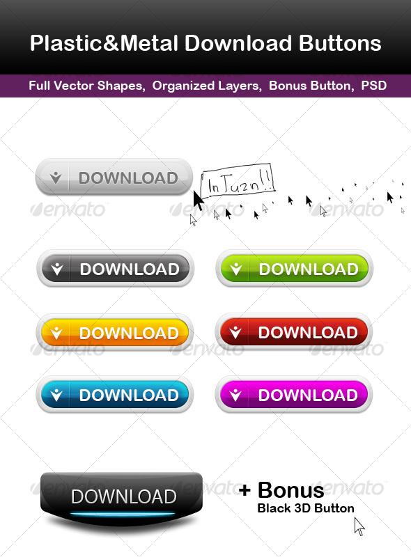 Plastic&Metal Download Buttons - Buttons Web Elements
