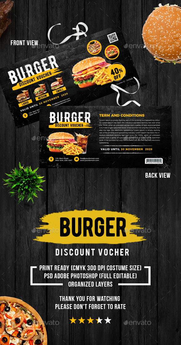 Food Discount Voucher - Cards & Invites Print Templates