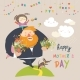 Dad and Daughter Carrying Flowers to Mom - GraphicRiver Item for Sale